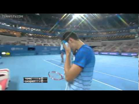 Richard Gasquet throws his racket in disgust vs. Tomic at 2013 China Open