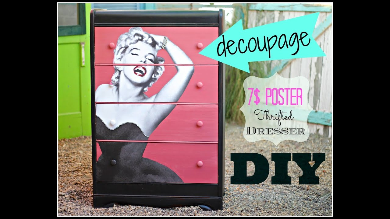 how to Decoupage Furniture with a 7$ poster, CeCe Caldwell Paint and a ...