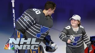 St. Louis Blues superfan Laila Anderson pumps up crowd with All-Star intros | NBC Sports