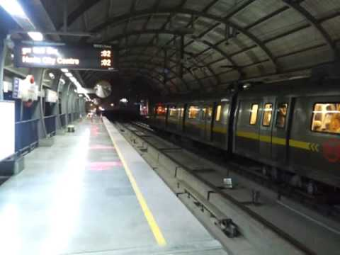 Delhi Metro Bombardier MOVIA Broad Gauge train at M.G. Road Metro Station