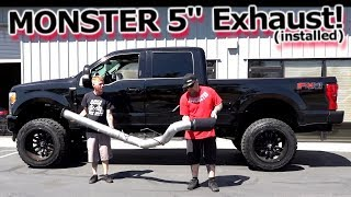 "MONSTER 5"" Exhaust Installed - Banks Power DPF Back 2017 Ford F250 Superduty"