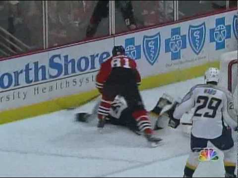 NHL 2010 Playoffs - Marian Hossa's Hit On Dan Hamhuis (April 24 2010) Video
