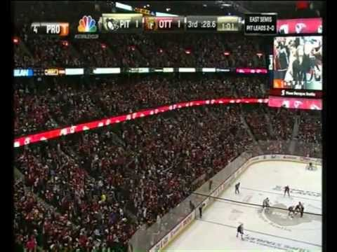 Ottawa - Pittsburgh: Alfredsson's tied &amp; Creening 2-1 goal's in 2nd overtime! (SC Playoff's Game 3)