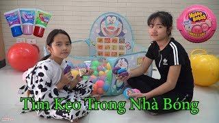 Thử Thách Tìm Kẹo Hubba Bubba và Kẹo Tuýp Kem Đánh Răng Trong Nhà Bóng Doremon - MN Toys