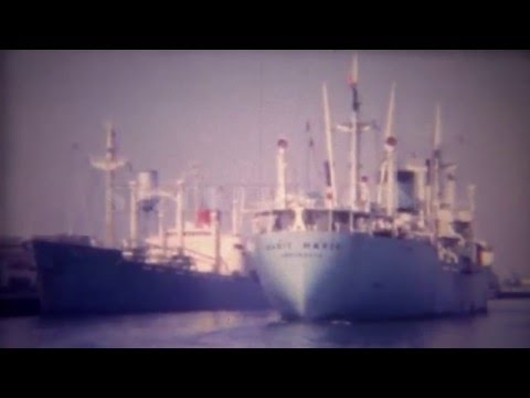 1956: Marit Maersk Danish container cargo ship empty into port. LONG BEACH, CALIFORNIA