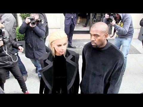 Kim Kardashian, Kanye West and Kris Jenner on their way to Balmain Fashion Show