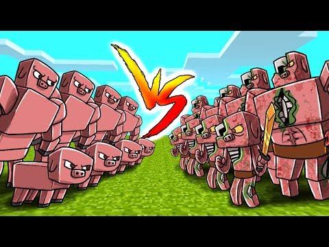 Minecraft - Pig Army vs Zombie Pigman Army! (Massive Mob Battles)