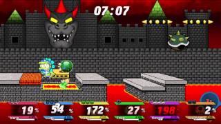 Super Smash Bros Crusade v0.9 (1080p) - Mario Vs Luigi Vs Peach Vs Toad Vs Bowser Vs Petey Piranha