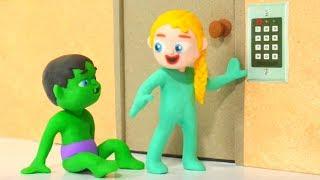 SUPERHERO BABIES TRY TO OPEN THE SECURITY DOOR ❤ Spiderman, Hulk & Frozen Play Doh Cartoons For Kids