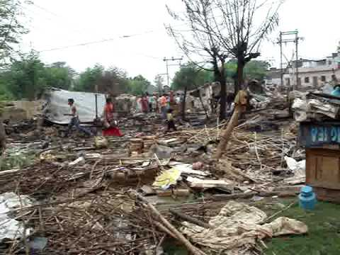 Demolished slum area