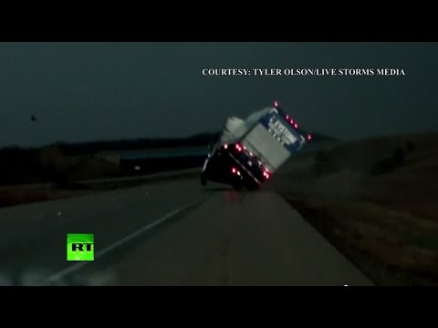 'This is violent!' Destructive tornado tearing through Illinois, mangling truck caught on camera