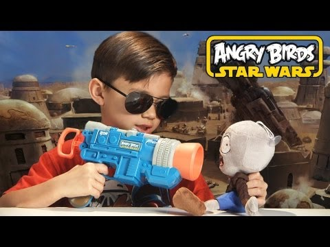 HAN SOLO LAUNCHER GUN - Angry Birds Star Wars Toy Koosh - TOTAL DESTRUCTION!!!