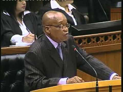 President Jacob Zuma responds to questions in parliament