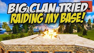 Big Clan Tried to Raid my SOLO BASE and FAILED! - Rust
