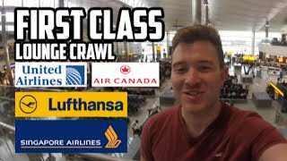 FIRST CLASS AIRPORT LOUNGE CRAWL - Lufthansa, Singapore Airlines, Air Canada & United