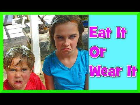 Eat It Or Wear It Food Tasting Challenge - Gross Family Fun!