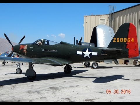 """Very Rare Bell P-63 Kingcobra & North American P-51 Mustang """"Bunny"""" Palm Springs Air Museum"""