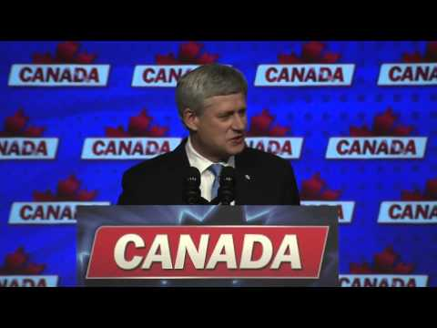 Conservative Leader Stephen Harper addresses his supporters in Calgary
