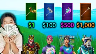 Guess The Fortnite SKIN For The PICKAXE OF ITS SET (MONEY CHALLENGE) - Fortnite
