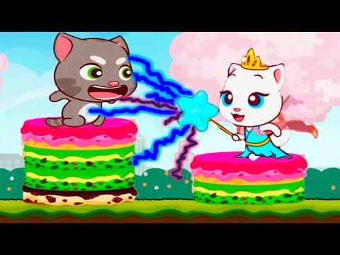 ГОВОРЯЩИЙ ТОМ минимульты ВКУСНАЯ БАШНЯ Тома #4 ДРУЗЬЯ! Игровой мультик   Talking Tom Cake Jump