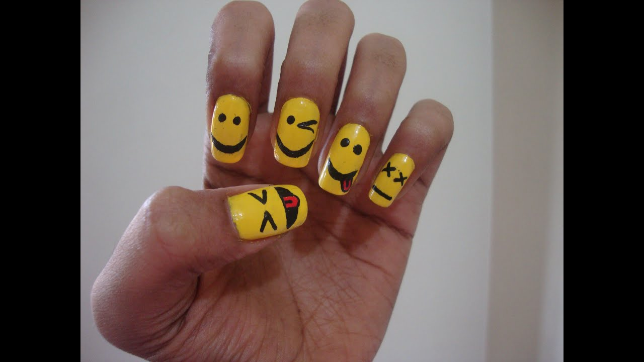 Cute emoticons nail art tutorial 5 different emoticons youtube