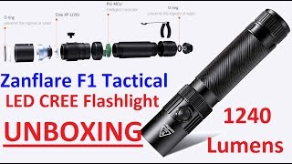 Unboxing Review 4K : ZanFlare F1 Tactical Cree XP-L V6 1240 Lumen LED Flashlight 6000-6500K