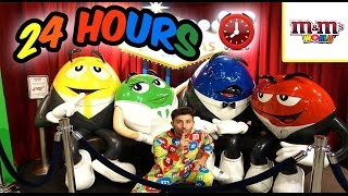 (CANDY!) 24 HOUR OVERNIGHT CHALLENGE in M&M WORLD FORT | OVERNIGHT CHALLENGE IN M&M WORLD CHOCOLATE