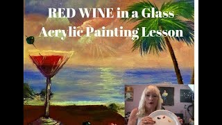 How to Paint RED WINE in a glass Easy Acrylic painting for beginners