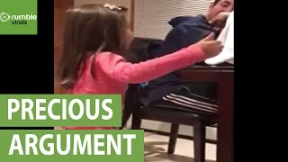 Little girl argues with her dad about dating