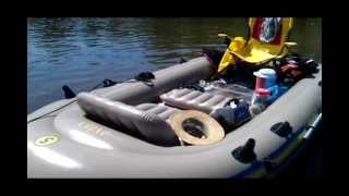 Intex Excursion 5 inflatable raft with 44lb trolling motor