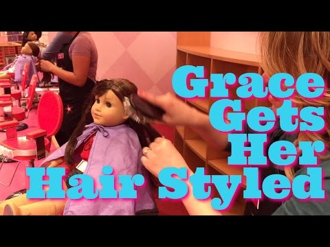 American Girl Doll, Grace, Gets Her Hair Styled At American Girl Place