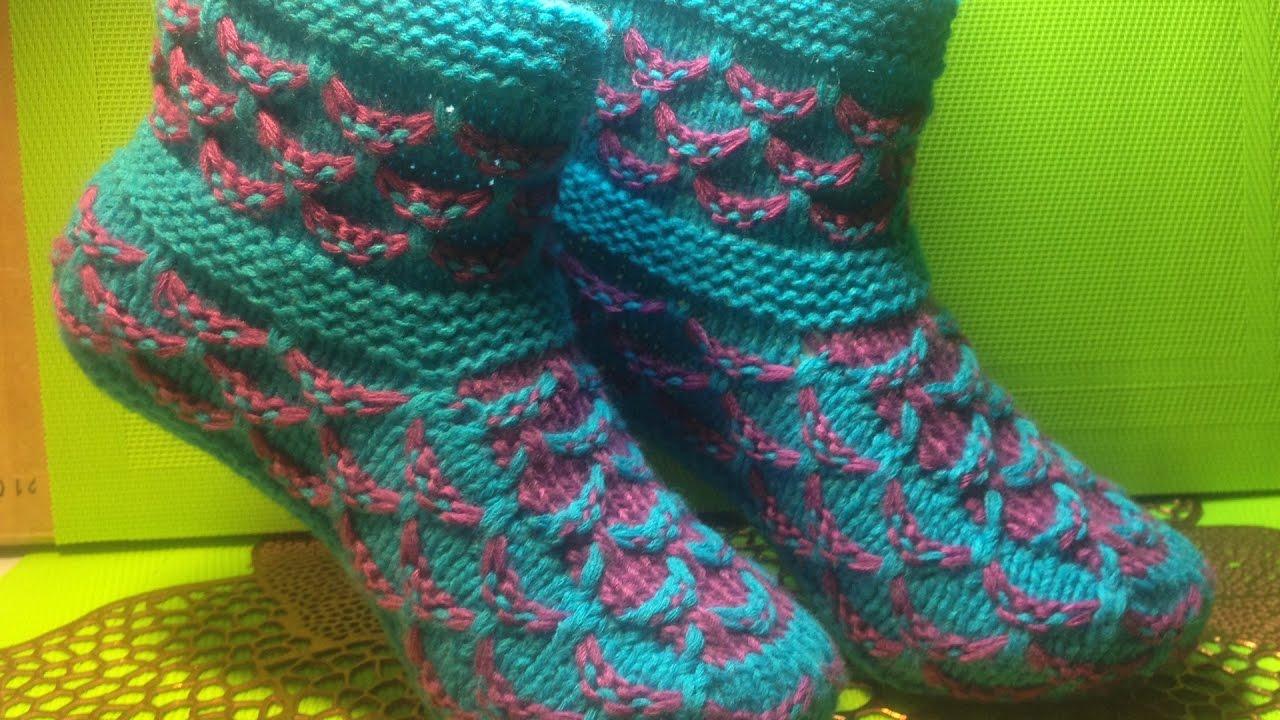 Бесплатно смотреть вязание спицами тапочки