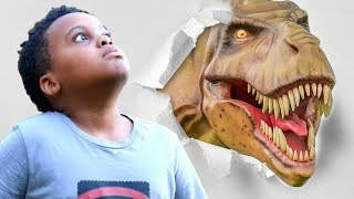 Bad Baby T-Rex ATTACKS - Scary T-Rex vs Shasha And Shiloh IRL - Onyx Kids