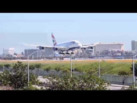 Planes landing at Los Angeles International Airport
