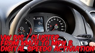 Changing VW Driver Info System (DIS/MFD) From KM/H to MPH & Digital Speedo
