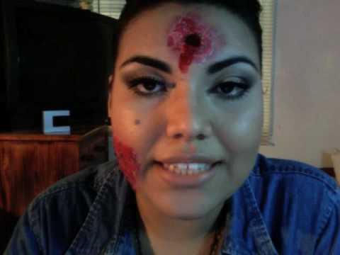 maquillaje para halloween/ quemadura y balazo