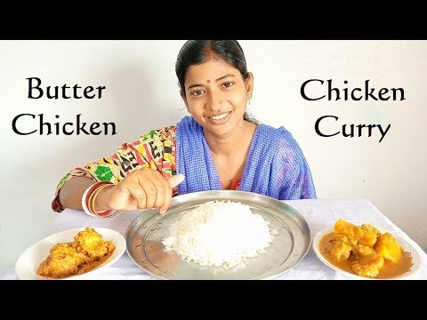 Eating Butter Chicken, Chicken Curry with Rice || Food Ninja