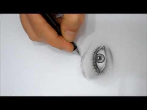 Kara Kalem Çalışması - Karakalem portre göz çizimi