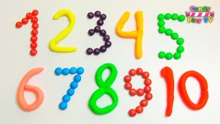 Learn to Count Make Numbers 1-10 with Candy M&M's, Skittles and Play Doh