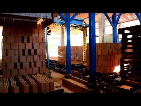 Automação descarga vagão forno e paletização tijolo: Thermo Industrial.