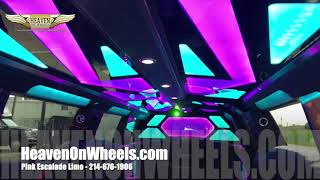 Pink Limo Dallas - Brand New Escalade Limo - Pink Cadillac Stretch for rent Dallas and Fort Worth