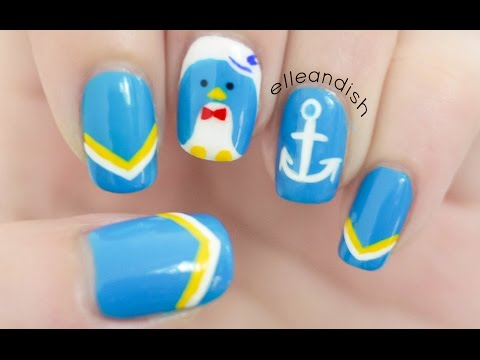 Nautical Penguin Nail Art Inspired by Tuxedo Sam!