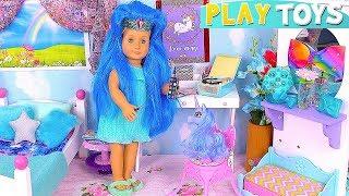 Baby Doll Unicorn Bedroom Wardrobe Bed Toys Play!