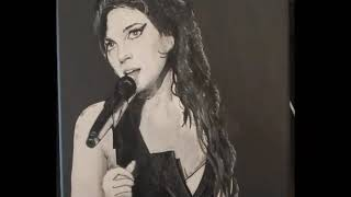 Amy Winehouse - Acrylic Artwork, painted onto canvas. Start to finish in a photo story.