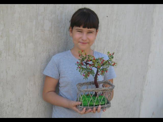 Бисероплетение Как сделать дерево из бисера мастер класс (яблоня) Подарки Поделки Идеи рукоделия
