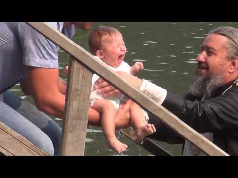 Крещение 2 - х месячных детей в Монастырском озере. Лесосибирск