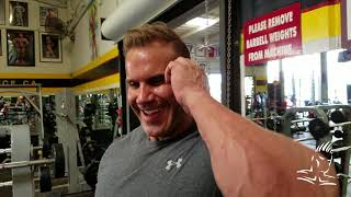 Jay trains chest at Golds Gym Venice, April 2018