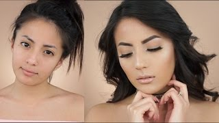 NATURAL & GLOWY MAKEUP LOOK + WAVY HAIR | itsmeana