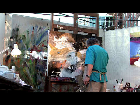Artist Jonas Gerard painting to performance by Gwen Hughes