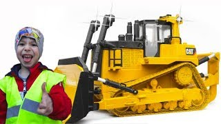Kids Ride on Power Wheels  BRUDER TOYS / Kid Pretend Play with new Tractor Bulldozer Unboxing Toy